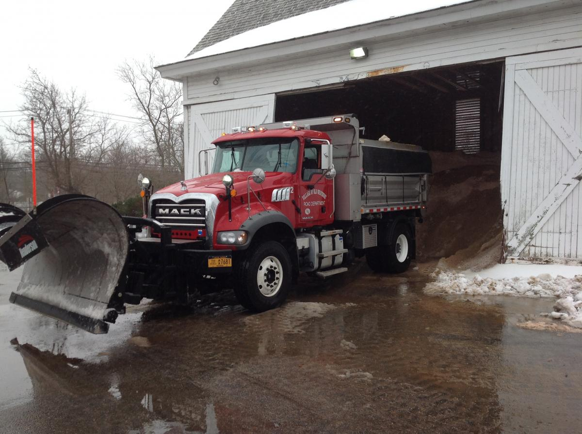 Plow Truck in Front of Salt Shed